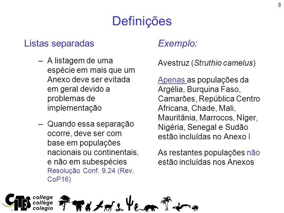 Definições Listas separadas Exemplo: Avestruz (Struthio camelus)
