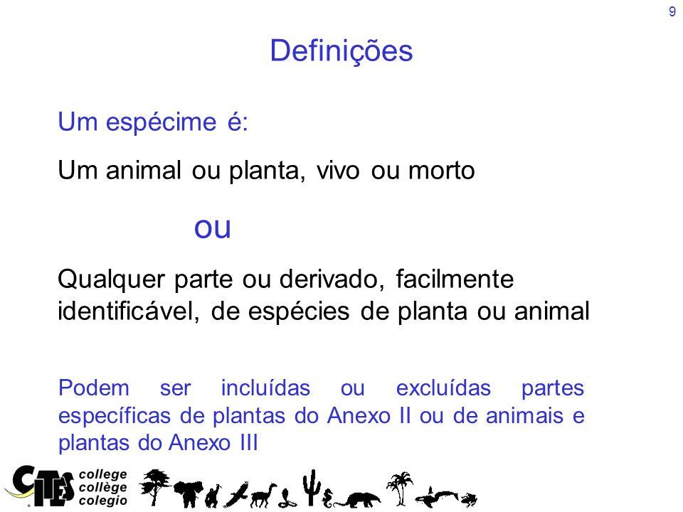 Definições Um espécime é: Um animal ou planta, vivo ou morto ou