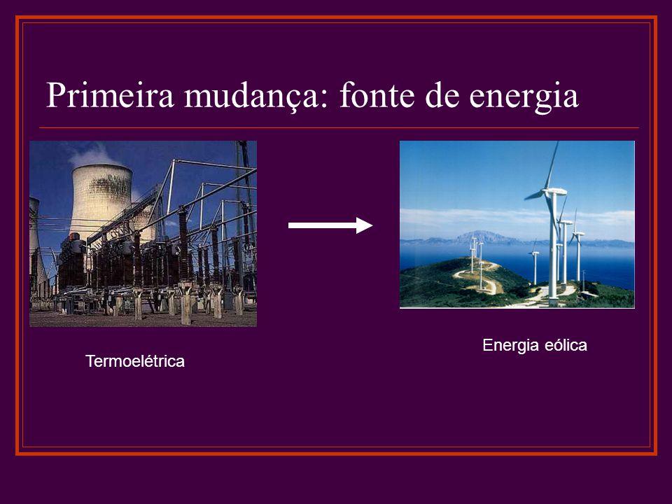 Primeira mudança: fonte de energia