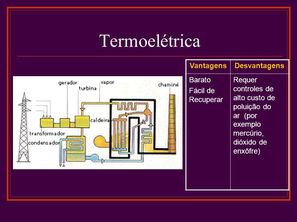 Termoelétrica Vantagens Desvantagens Barato Fácil de Recuperar