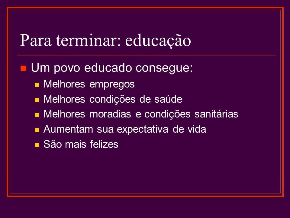 Para terminar: educação