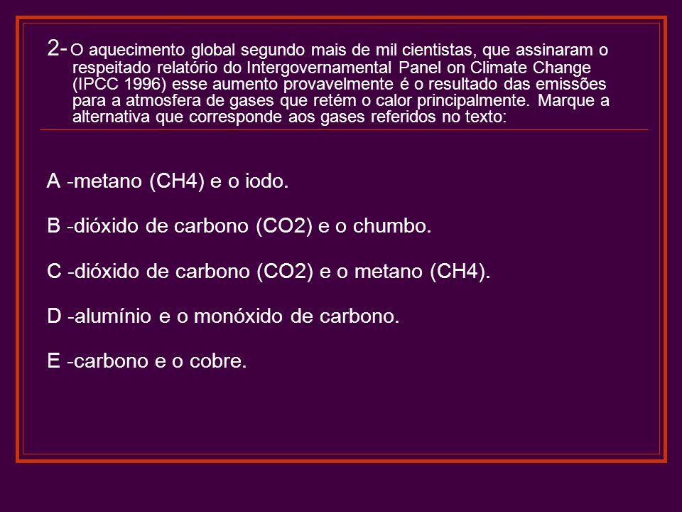 2- O aquecimento global segundo mais de mil cientistas, que assinaram o respeitado relatório do Intergovernamental Panel on Climate Change (IPCC 1996) esse aumento provavelmente é o resultado das emissões para a atmosfera de gases que retém o calor principalmente. Marque a alternativa que corresponde aos gases referidos no texto: