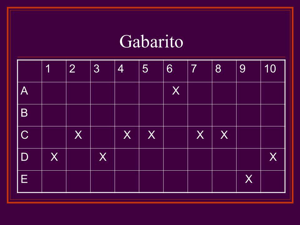 Gabarito 1 2 3 4 5 6 7 8 9 10 A X B C D E