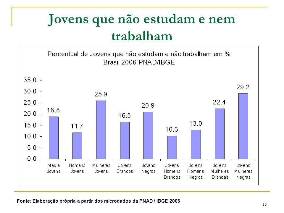 Jovens que não estudam e nem trabalham Brasil 2006 por Sexo e Raça