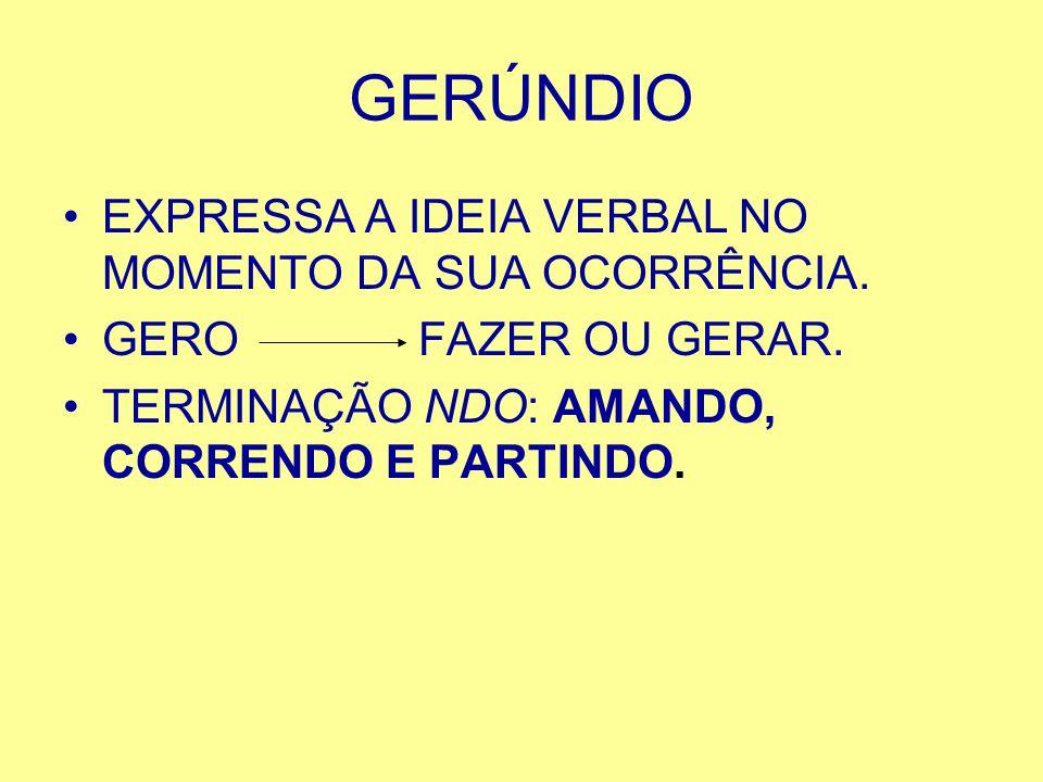 GERÚNDIO EXPRESSA A IDEIA VERBAL NO MOMENTO DA SUA OCORRÊNCIA.