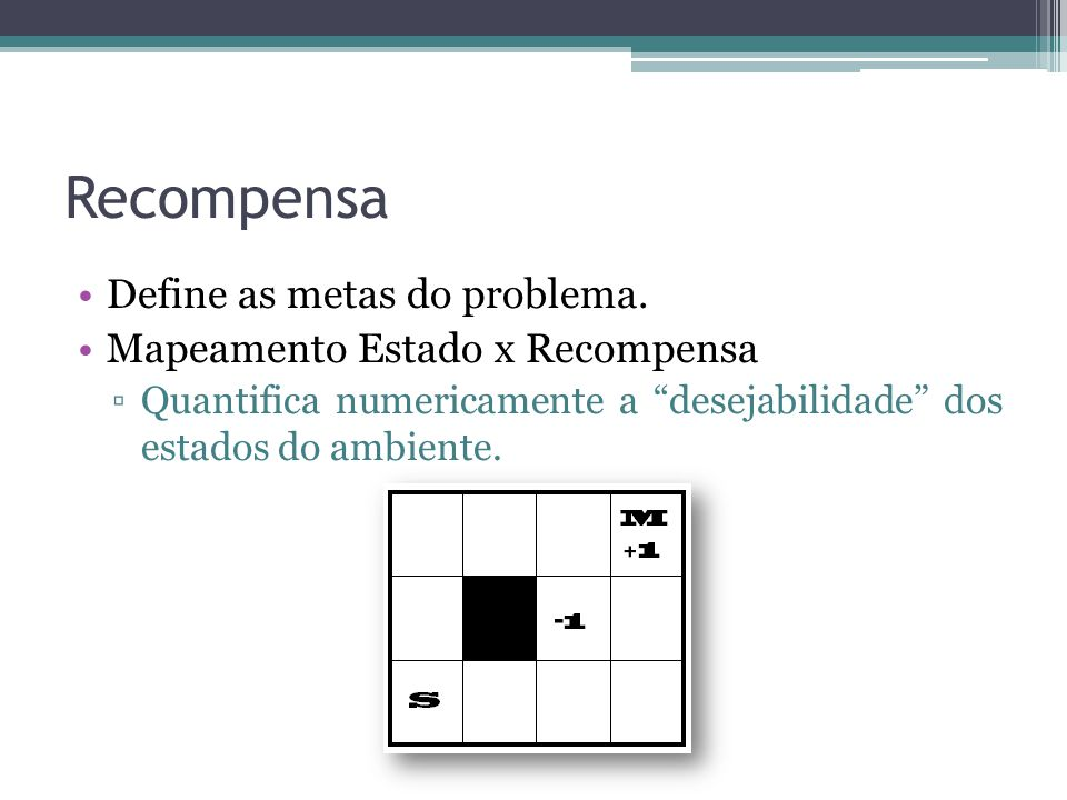 Recompensa Define as metas do problema. Mapeamento Estado x Recompensa