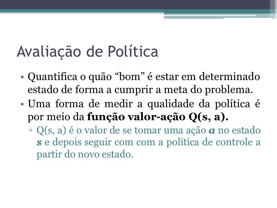 Avaliação de Política Quantifica o quão bom é estar em determinado estado de forma a cumprir a meta do problema.