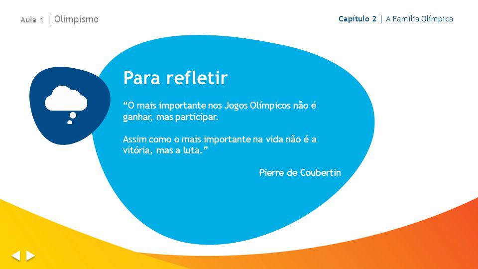 Aula 1 | Olimpismo Capítulo 2 | A Família Olímpica. Para refletir. O mais importante nos Jogos Olímpicos não é ganhar, mas participar.