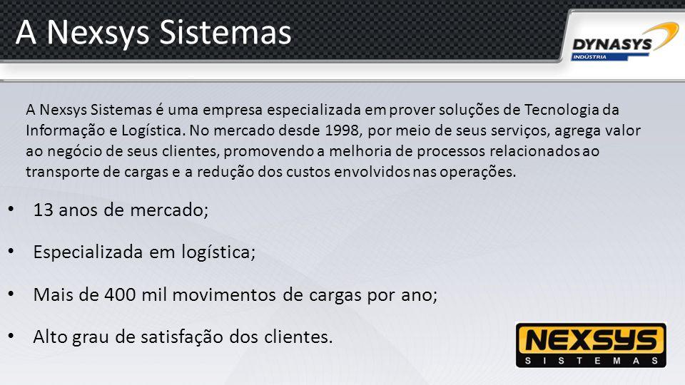 A Nexsys Sistemas 13 anos de mercado; Especializada em logística;