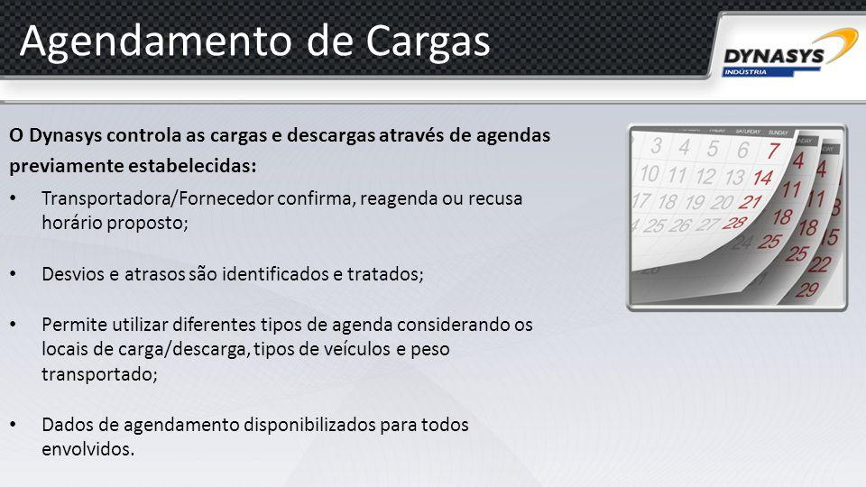 Agendamento de Cargas O Dynasys controla as cargas e descargas através de agendas previamente estabelecidas: