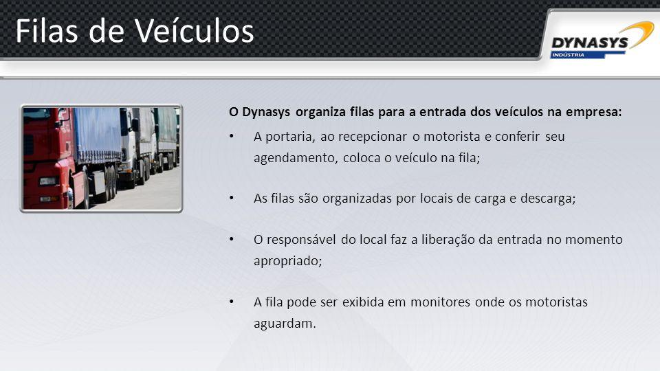 Filas de Veículos O Dynasys organiza filas para a entrada dos veículos na empresa: