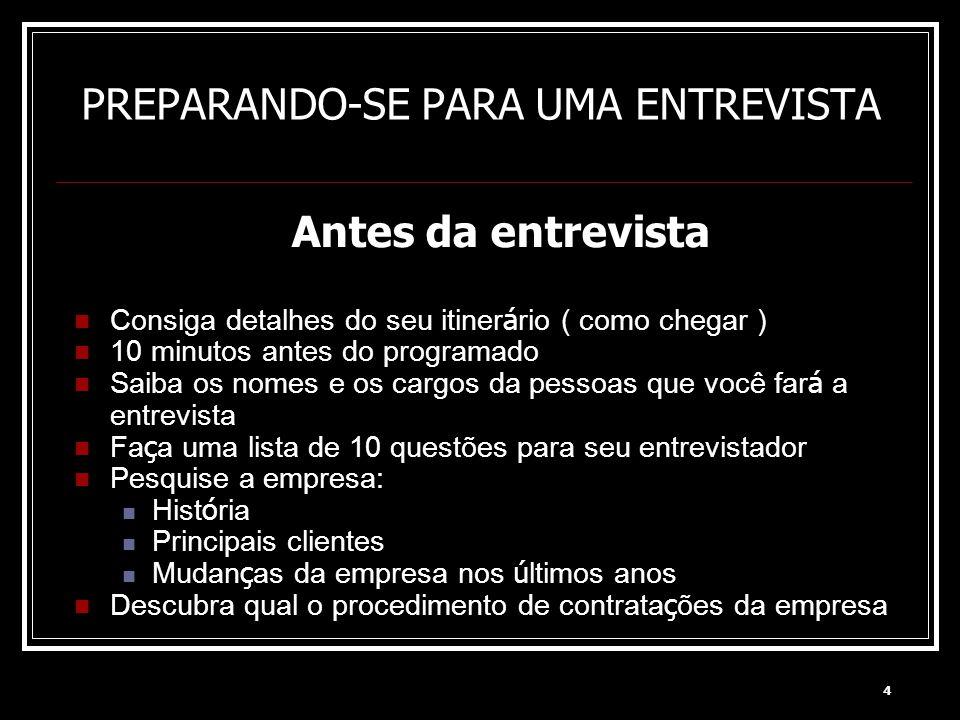 PREPARANDO-SE PARA UMA ENTREVISTA
