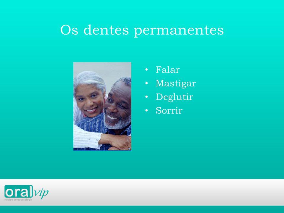 Os dentes permanentes Falar Mastigar Deglutir Sorrir