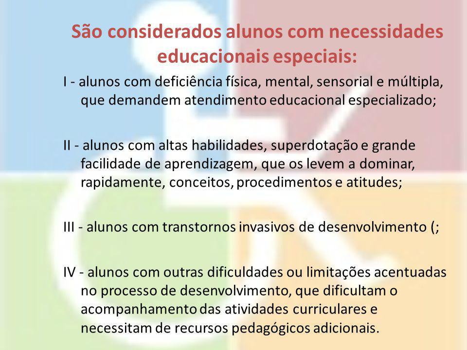 São considerados alunos com necessidades educacionais especiais: