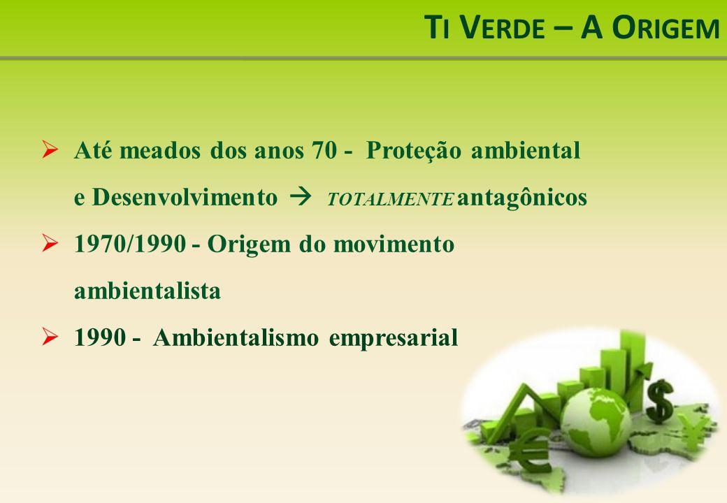 Ti Verde – A Origem Até meados dos anos 70 - Proteção ambiental e Desenvolvimento  TOTALMENTE antagônicos.