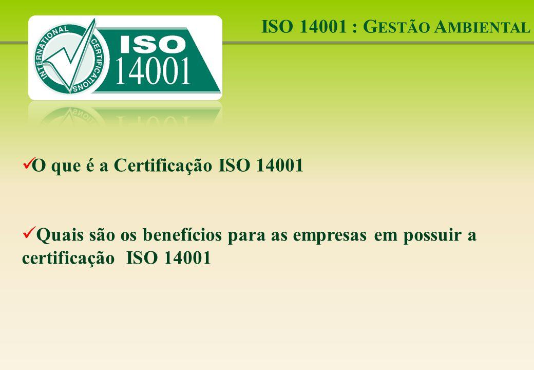 ISO 14001 : Gestão Ambiental O que é a Certificação ISO 14001.