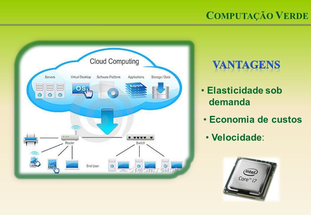 Computação Verde Vantagens Elasticidade sob demanda Economia de custos