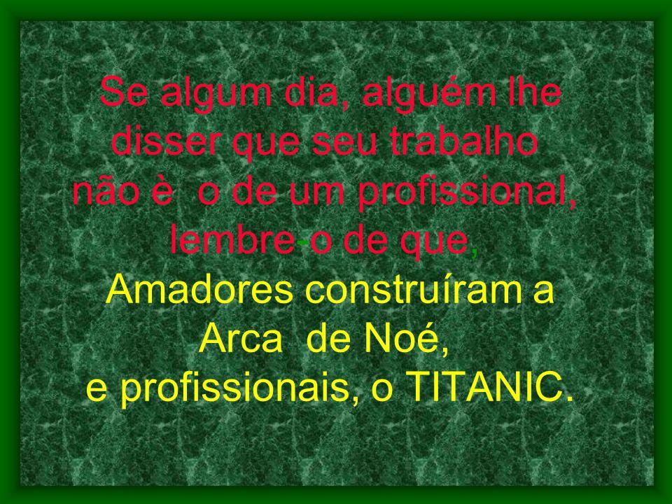 Se algum dia, alguém lhe disser que seu trabalho não è o de um profissional, lembre-o de que, Amadores construíram a Arca de Noé, e profissionais, o TITANIC.