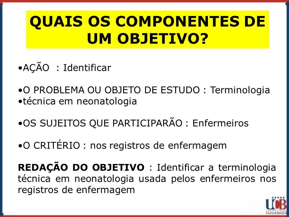 QUAIS OS COMPONENTES DE UM OBJETIVO