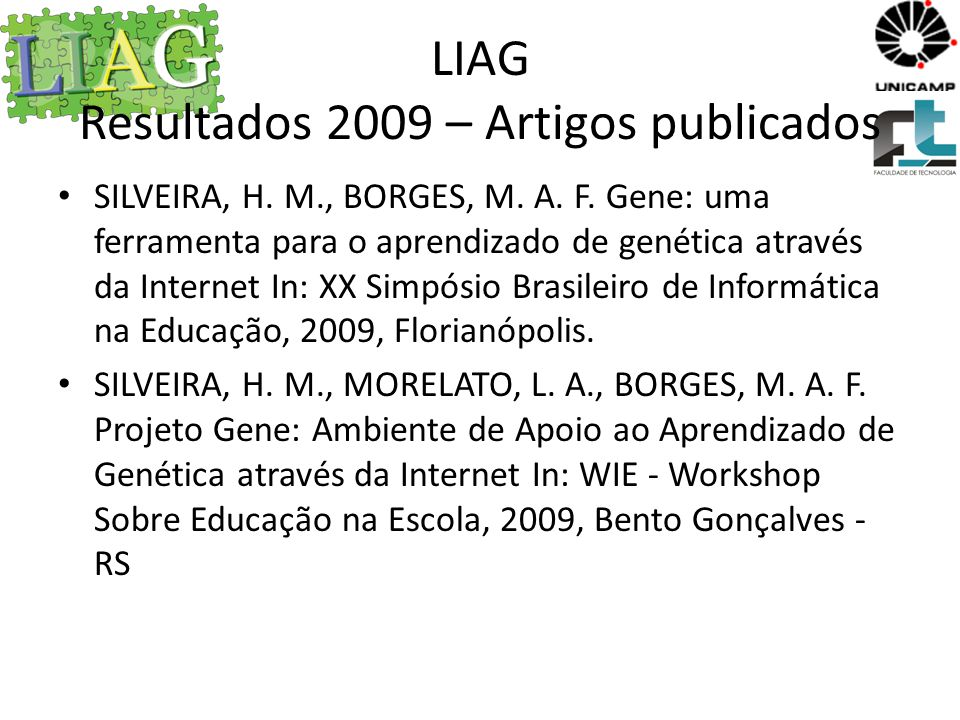 LIAG Resultados 2009 – Artigos publicados