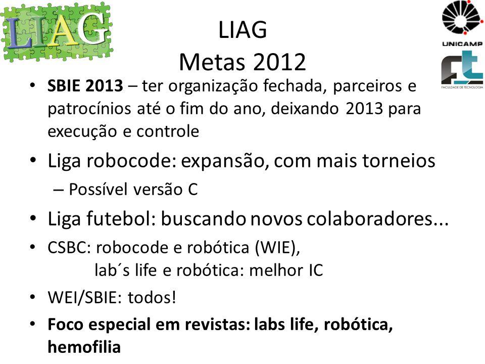 LIAG Metas 2012 Liga robocode: expansão, com mais torneios
