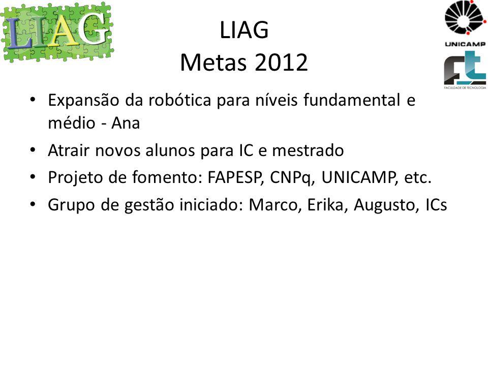 LIAG Metas 2012 Expansão da robótica para níveis fundamental e médio - Ana. Atrair novos alunos para IC e mestrado.