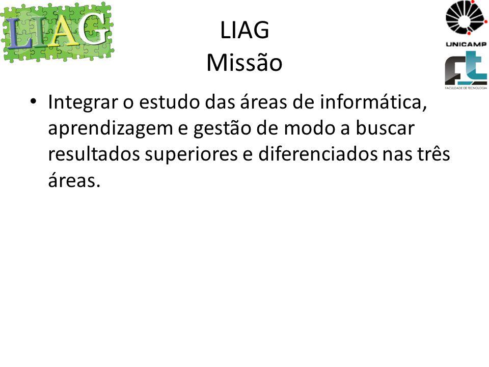 LIAG Missão Integrar o estudo das áreas de informática, aprendizagem e gestão de modo a buscar resultados superiores e diferenciados nas três áreas.
