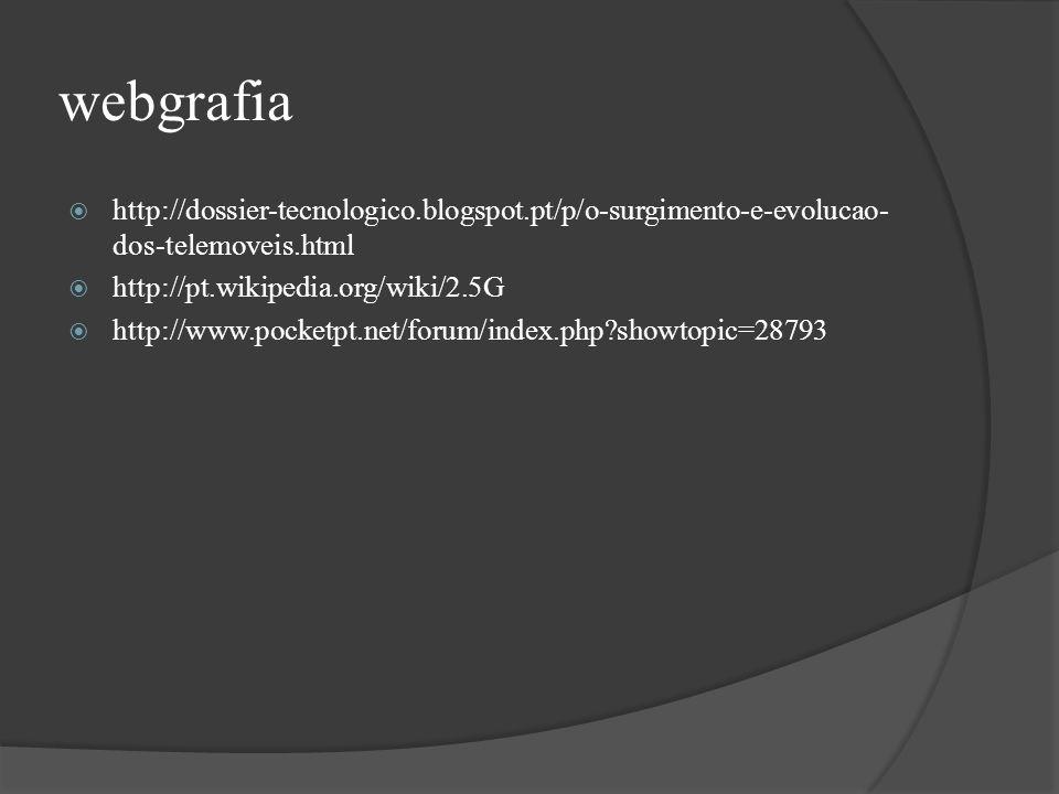 webgrafia http://dossier-tecnologico.blogspot.pt/p/o-surgimento-e-evolucao-dos-telemoveis.html. http://pt.wikipedia.org/wiki/2.5G.