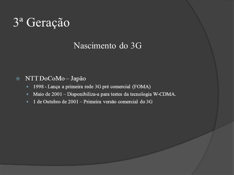 3ª Geração Nascimento do 3G NTT DoCoMo – Japão