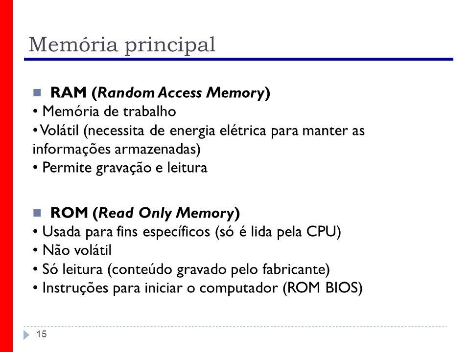 Memória principal RAM (Random Access Memory) • Memória de trabalho