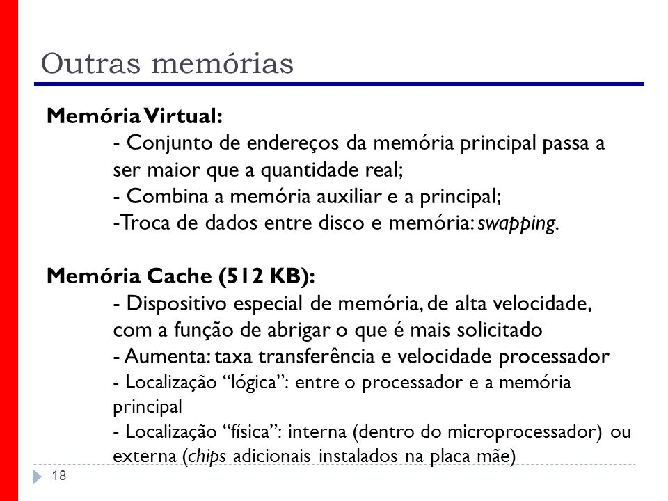 Outras memórias Memória Virtual: