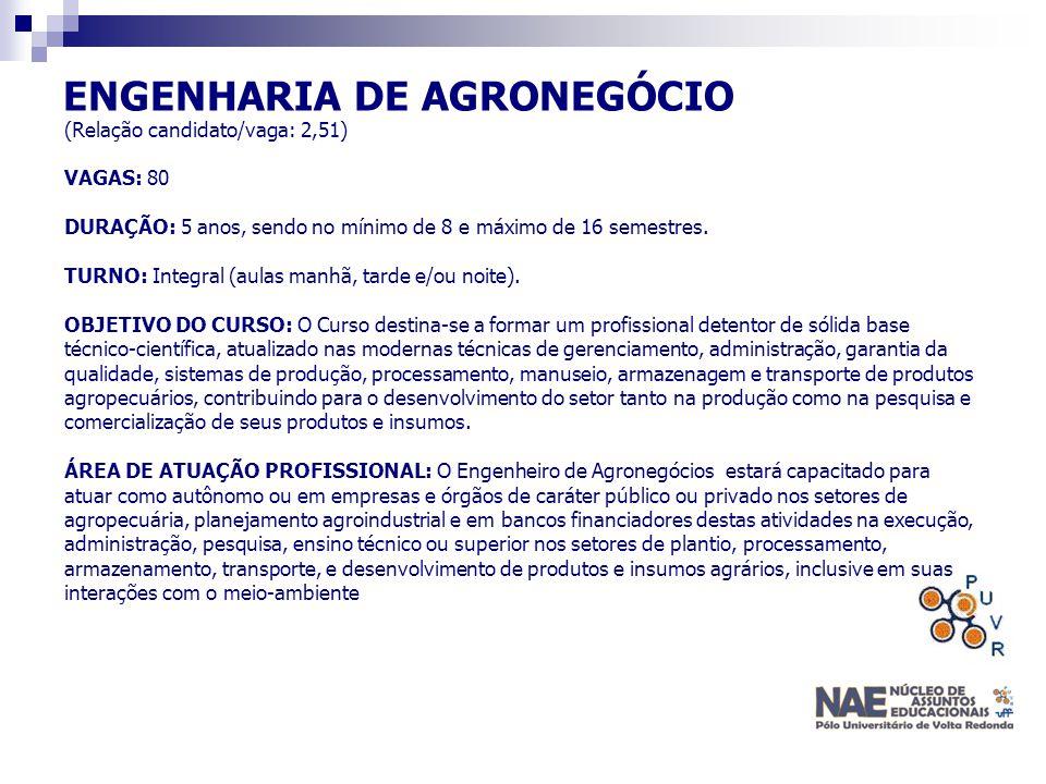 ENGENHARIA DE AGRONEGÓCIO