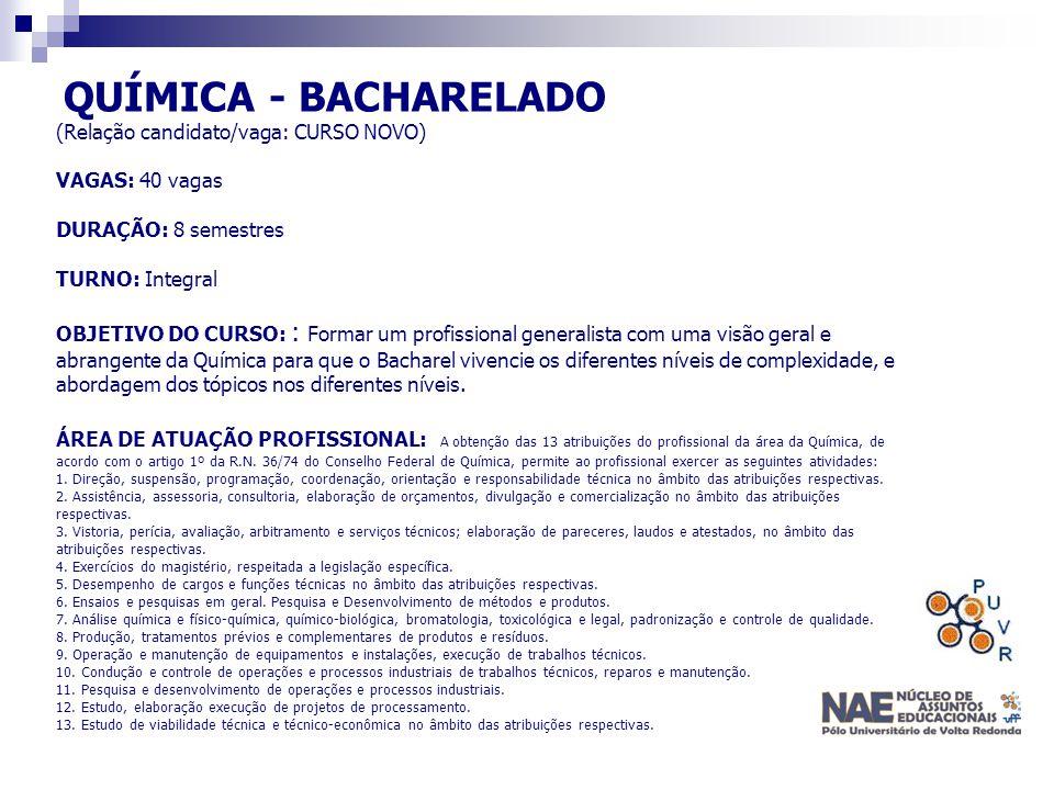 QUÍMICA - BACHARELADO (Relação candidato/vaga: CURSO NOVO)