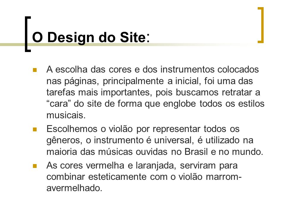O Design do Site:
