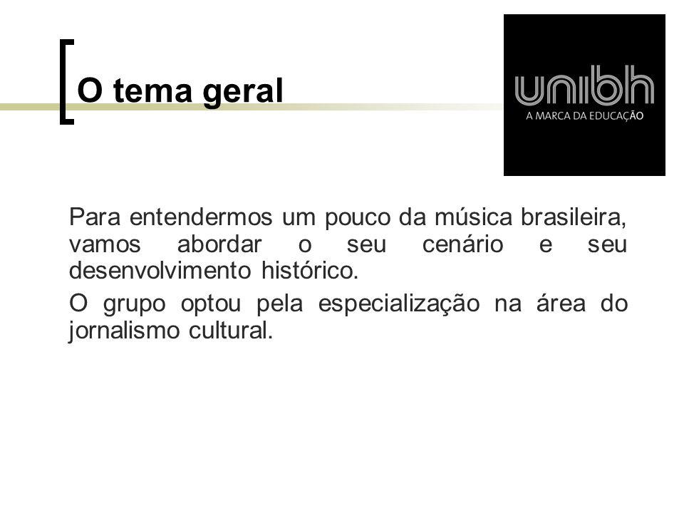O tema geral Para entendermos um pouco da música brasileira, vamos abordar o seu cenário e seu desenvolvimento histórico.