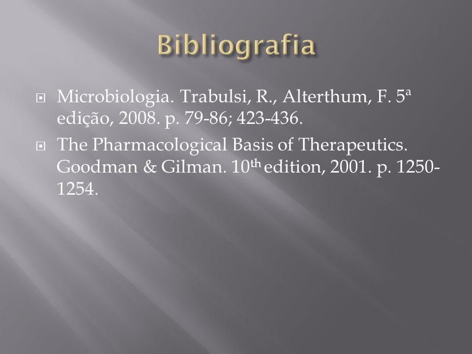 Bibliografia Microbiologia. Trabulsi, R., Alterthum, F. 5ª edição, 2008. p. 79-86; 423-436.