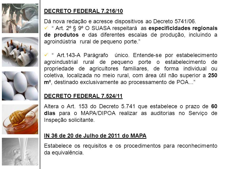 DECRETO FEDERAL 7.216/10 Dá nova redação e acresce dispositivos ao Decreto 5741/06.