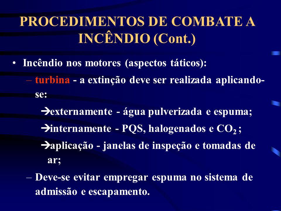 PROCEDIMENTOS DE COMBATE A INCÊNDIO (Cont.)