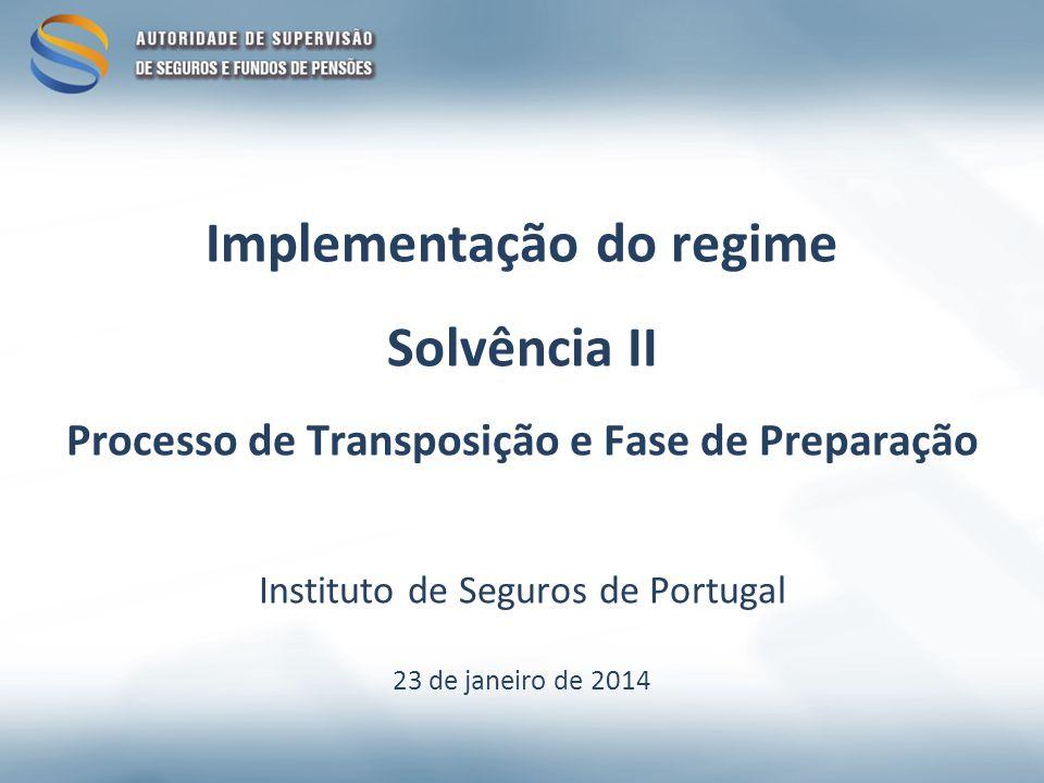 Implementação do regime Solvência II Processo de Transposição e Fase de Preparação Instituto de Seguros de Portugal 23 de janeiro de 2014