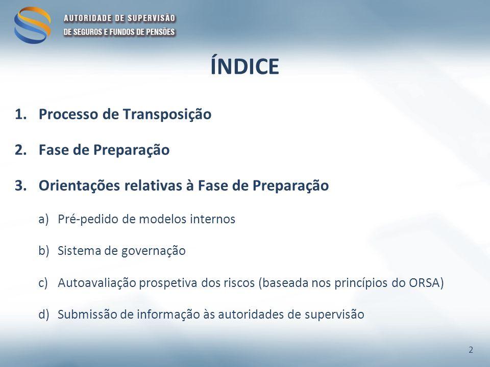 ÍNDICE Processo de Transposição Fase de Preparação