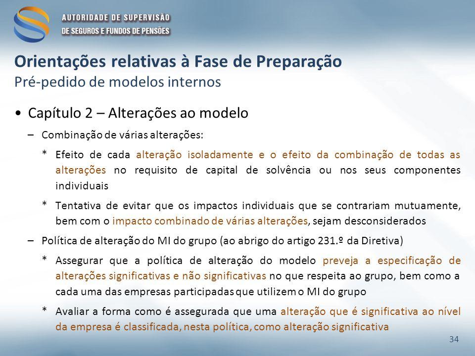 Orientações relativas à Fase de Preparação Pré-pedido de modelos internos