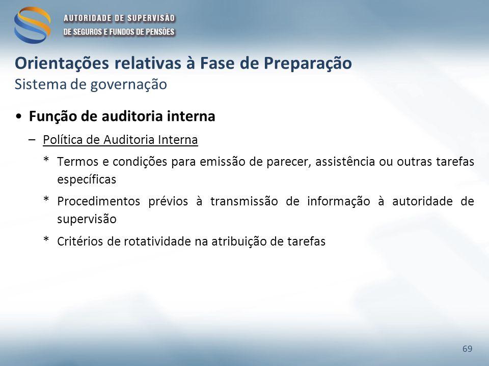 Orientações relativas à Fase de Preparação Sistema de governação