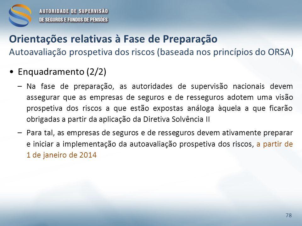 Orientações relativas à Fase de Preparação Autoavaliação prospetiva dos riscos (baseada nos princípios do ORSA)