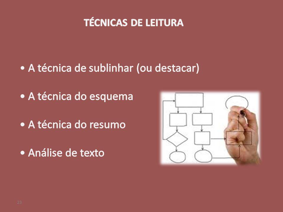 A técnica de sublinhar (ou destacar) A técnica do esquema