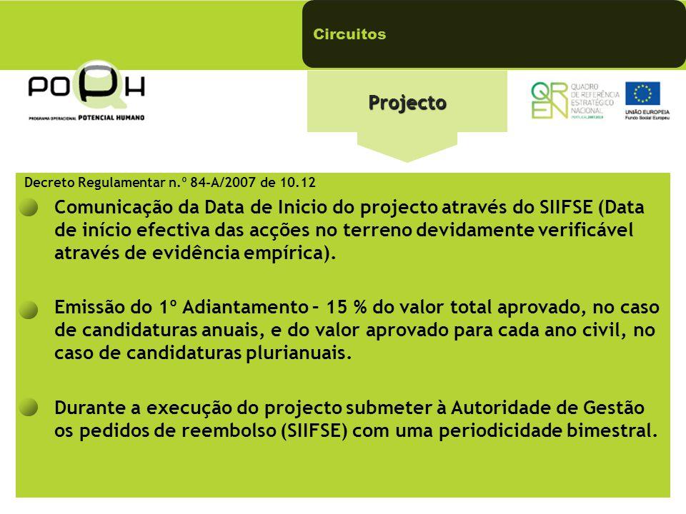Circuitos Projecto. Decreto Regulamentar n.º 84-A/2007 de 10.12.