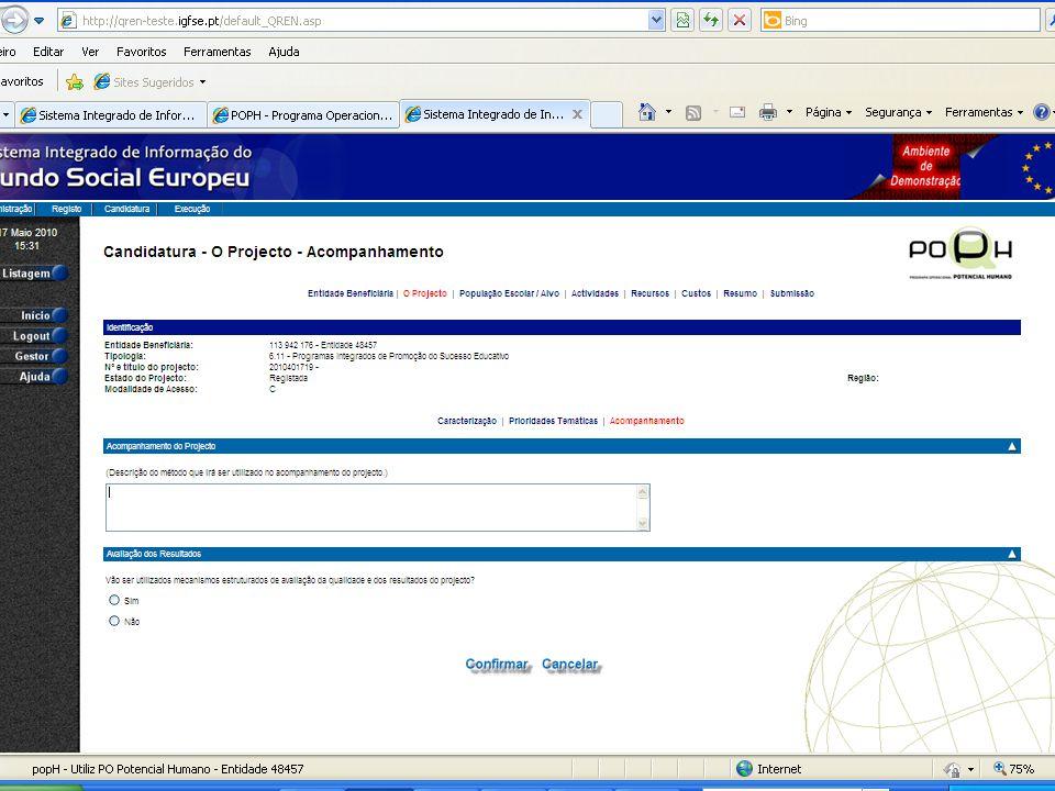 Formulário de candidatura