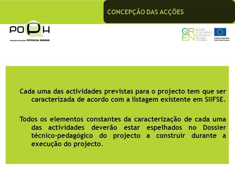 CONCEPÇÃO DAS ACÇÕES Cada uma das actividades previstas para o projecto tem que ser caracterizada de acordo com a listagem existente em SIIFSE.