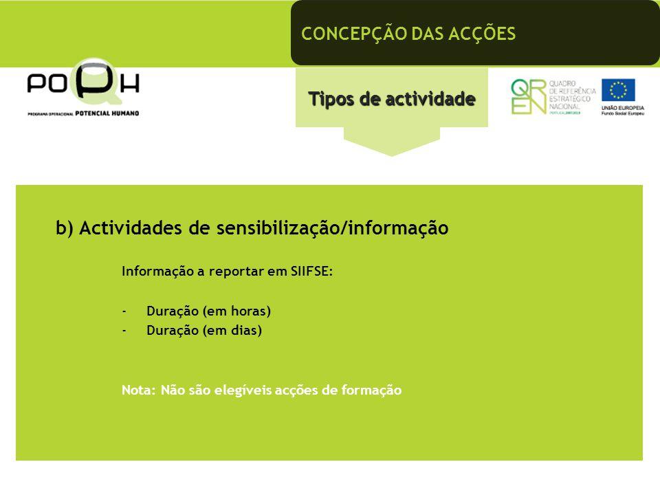 b) Actividades de sensibilização/informação