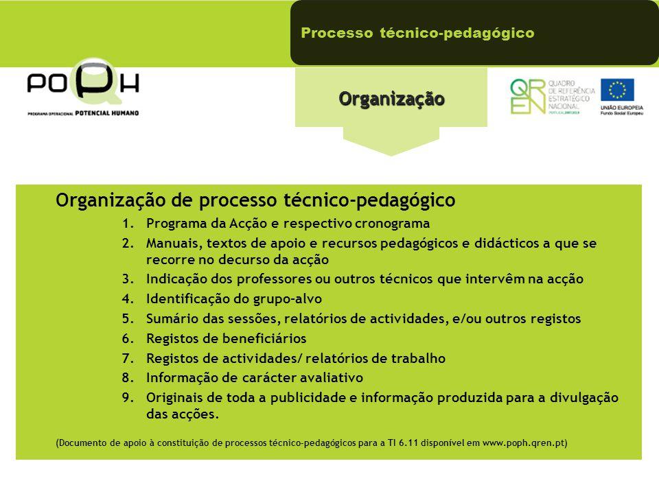 Organização de processo técnico-pedagógico