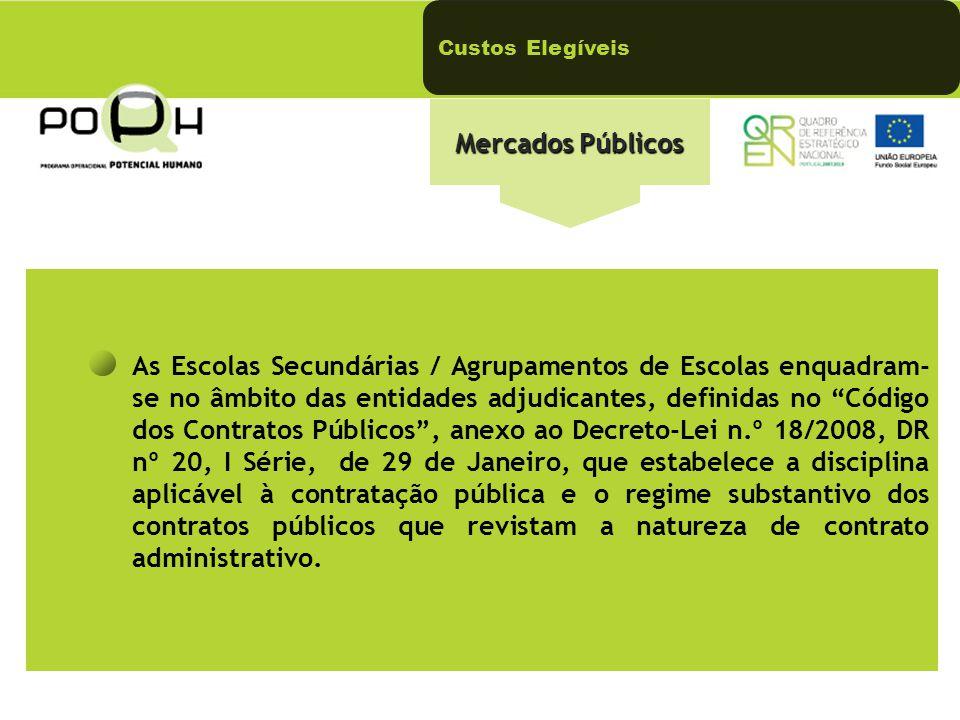 Custos Elegíveis Mercados Públicos.